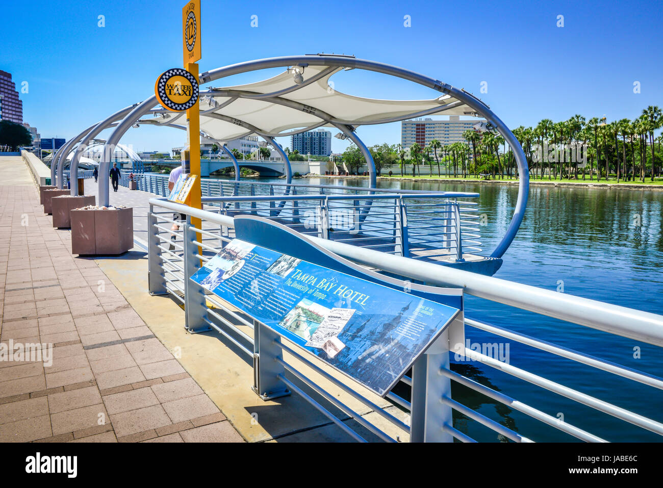 A map of the Tampa RiverWalk alongside the water taxi stand on the