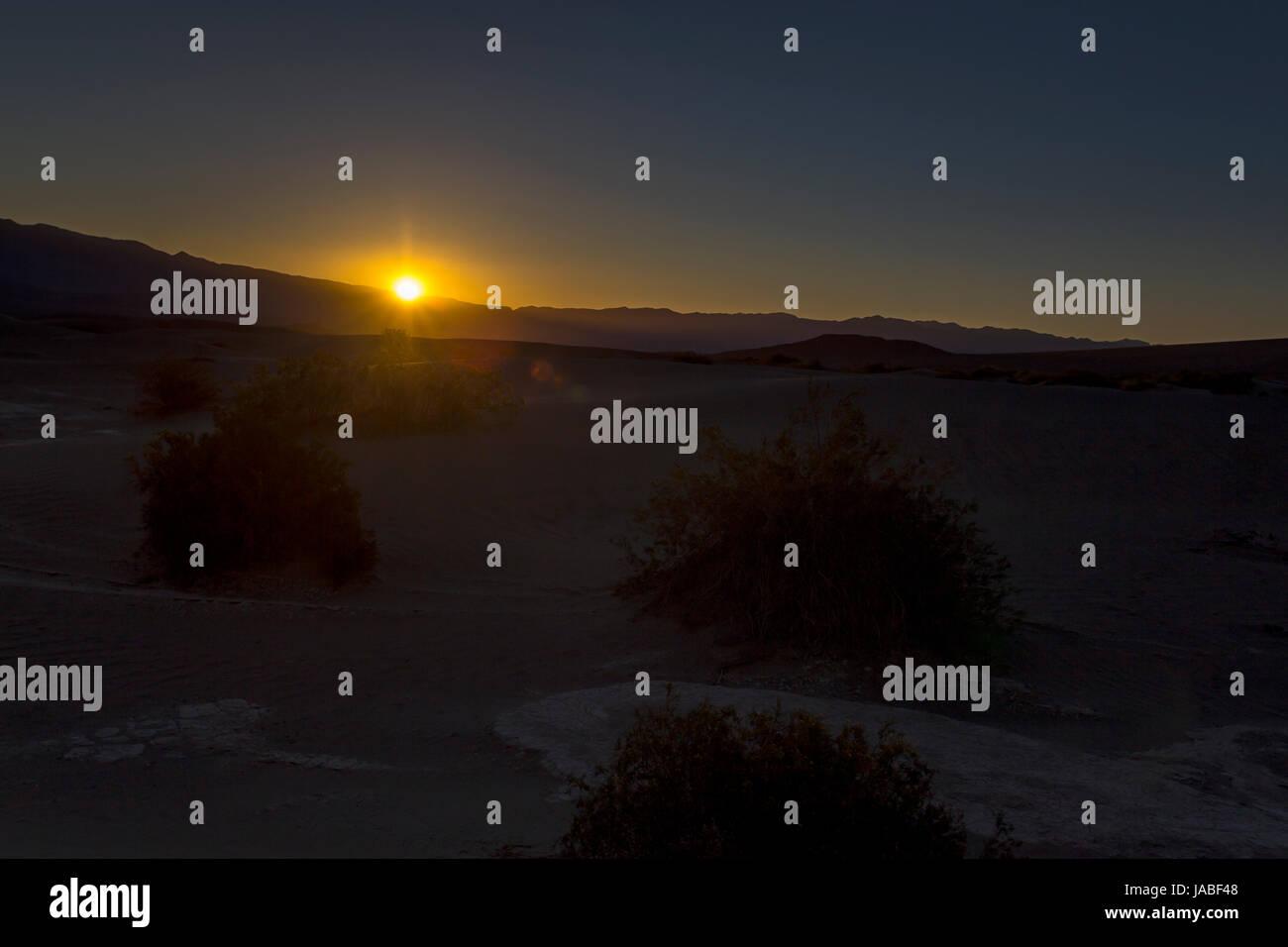 sunrise, Mesquite Flat Sand Dunes, Death Valley National Park, Death Valley, California - Stock Image