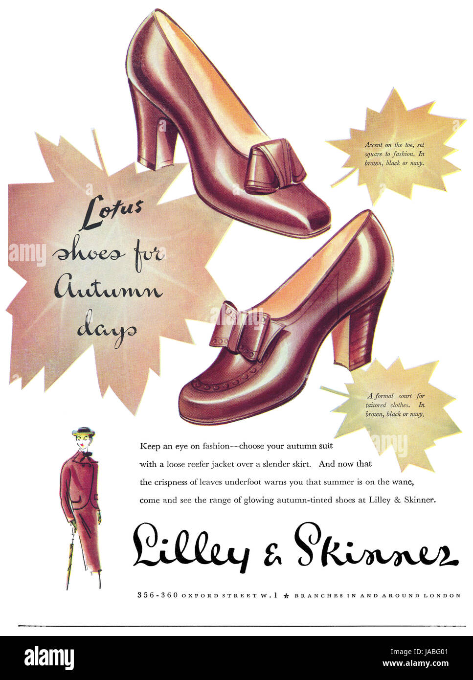 1950 British advertisement for Lilley & Skinner shoe stores. - Stock Image