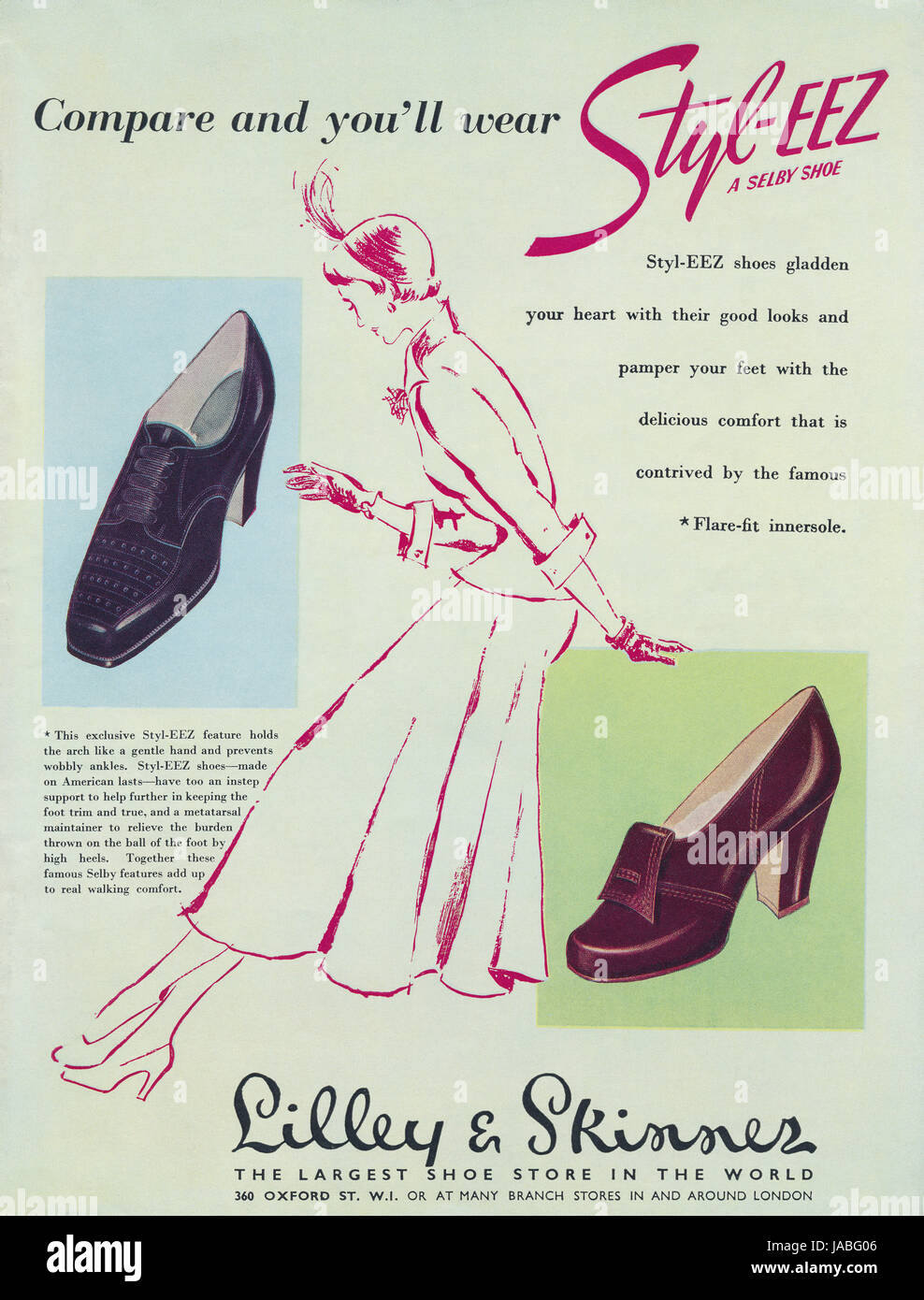 1950 British advertisement for Selby Styl-Eez Shoes, available at Lilley & Skinner shoe stores. - Stock Image