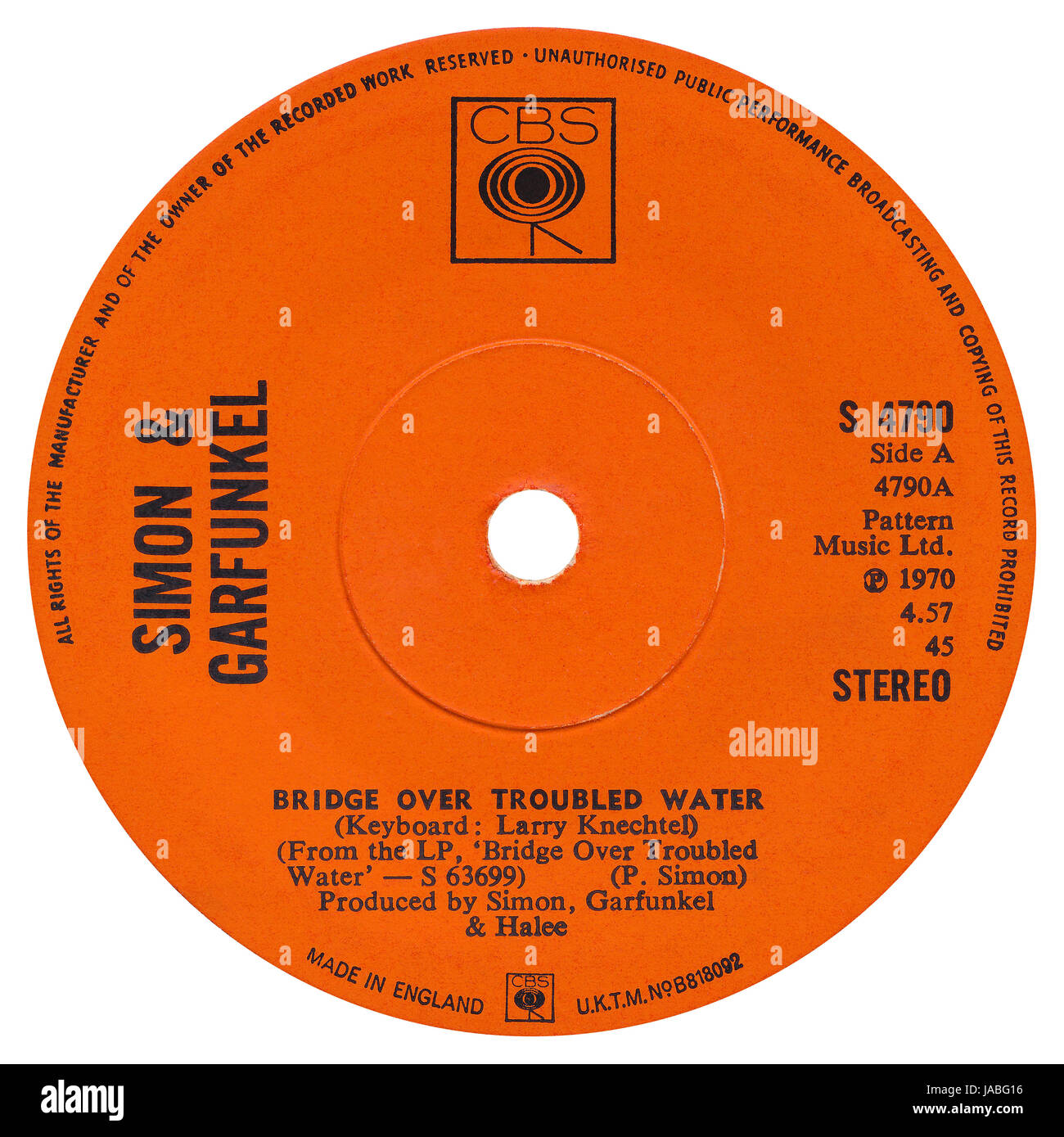 """45 RPM 7"""" UK record label of Bridge Over Troubled Water by Simon & Garfunkel in the CBS label from February 1970. Stock Photo"""