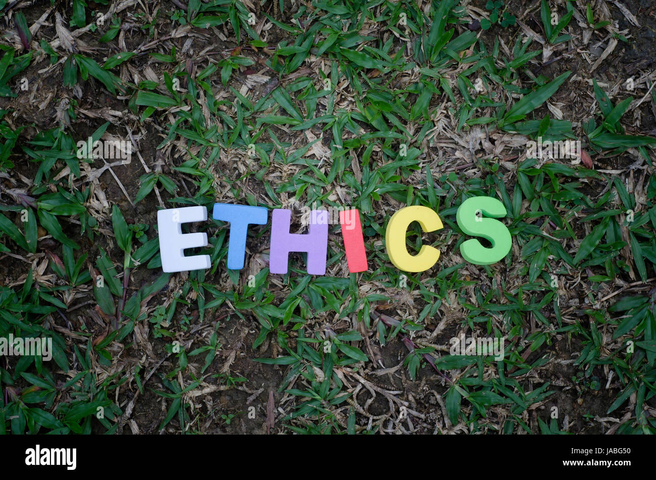 word ethics spell using colorful alphabets block. - Stock Image
