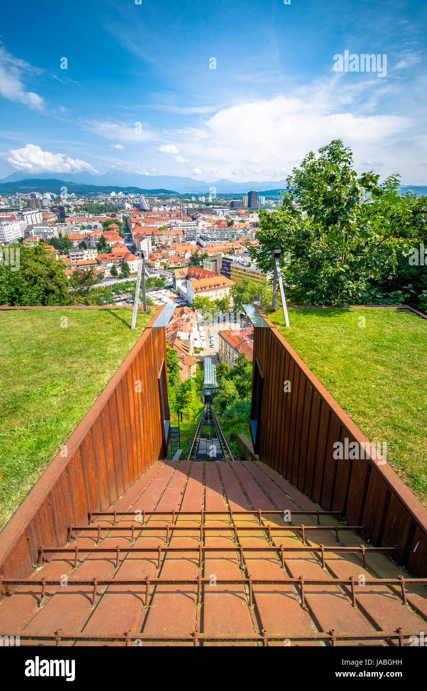 Funicular of Ljubljana and city aerial view, capital of Slovenia - Stock Image