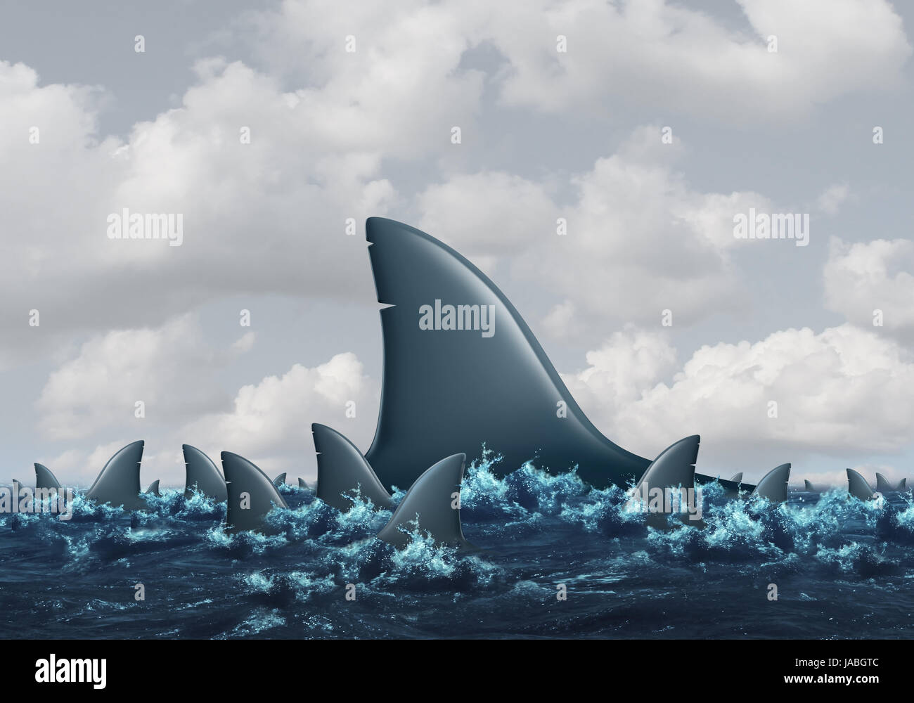 Big Fish Concept Business Metaphor As A Group Of Smaller Sharks