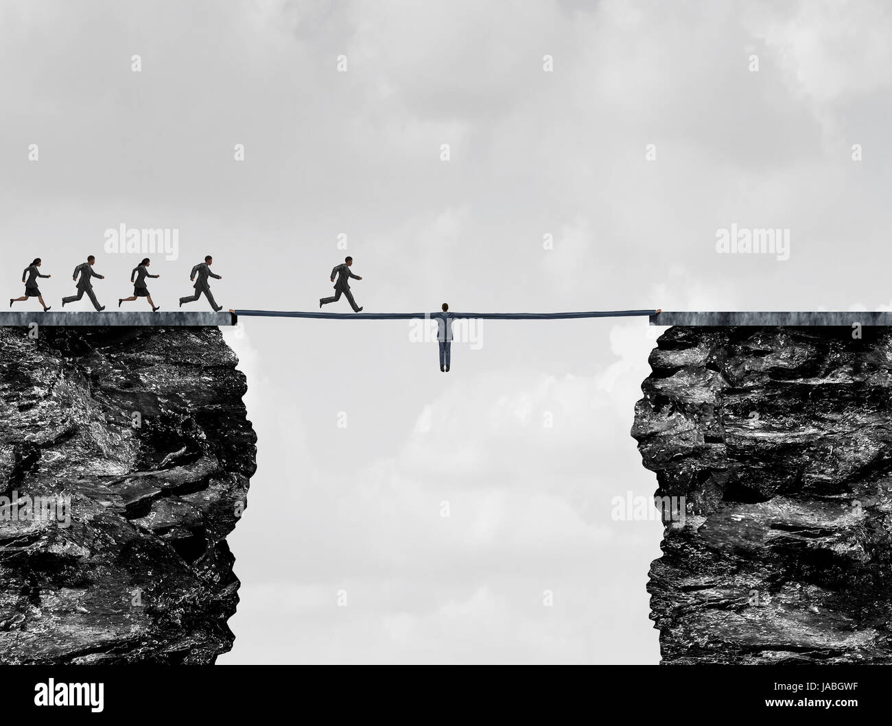 Leadership bridge business success concept as a leader businessman with stretched arms creating a path and helping - Stock Image