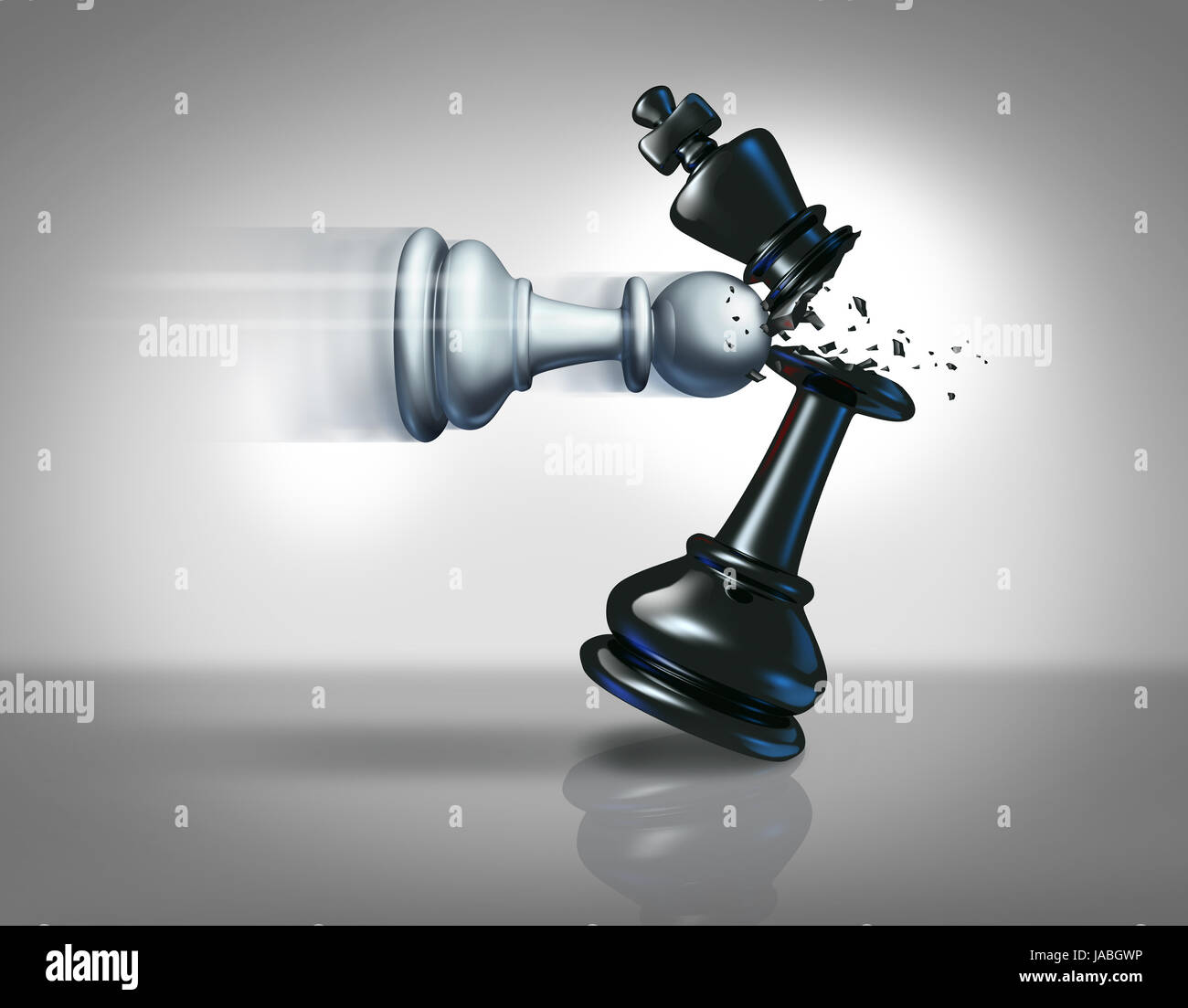 Startup business strategy concept as a chess pawn smashing a king piece as a metaphor for success and action plan - Stock Image