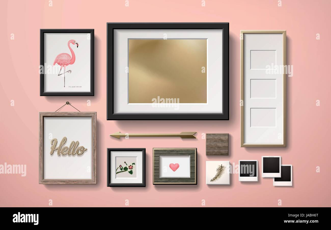 Wonderful Blank Picture Frames Decoration In Different Shapes Hanging On The Pink  Wall, 3d Illustration In Realistic Style