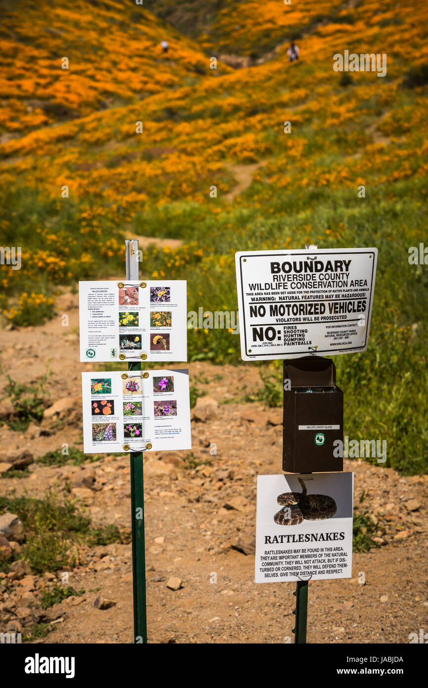 Warning signs at the spring poppy fields in Walker Canyon
