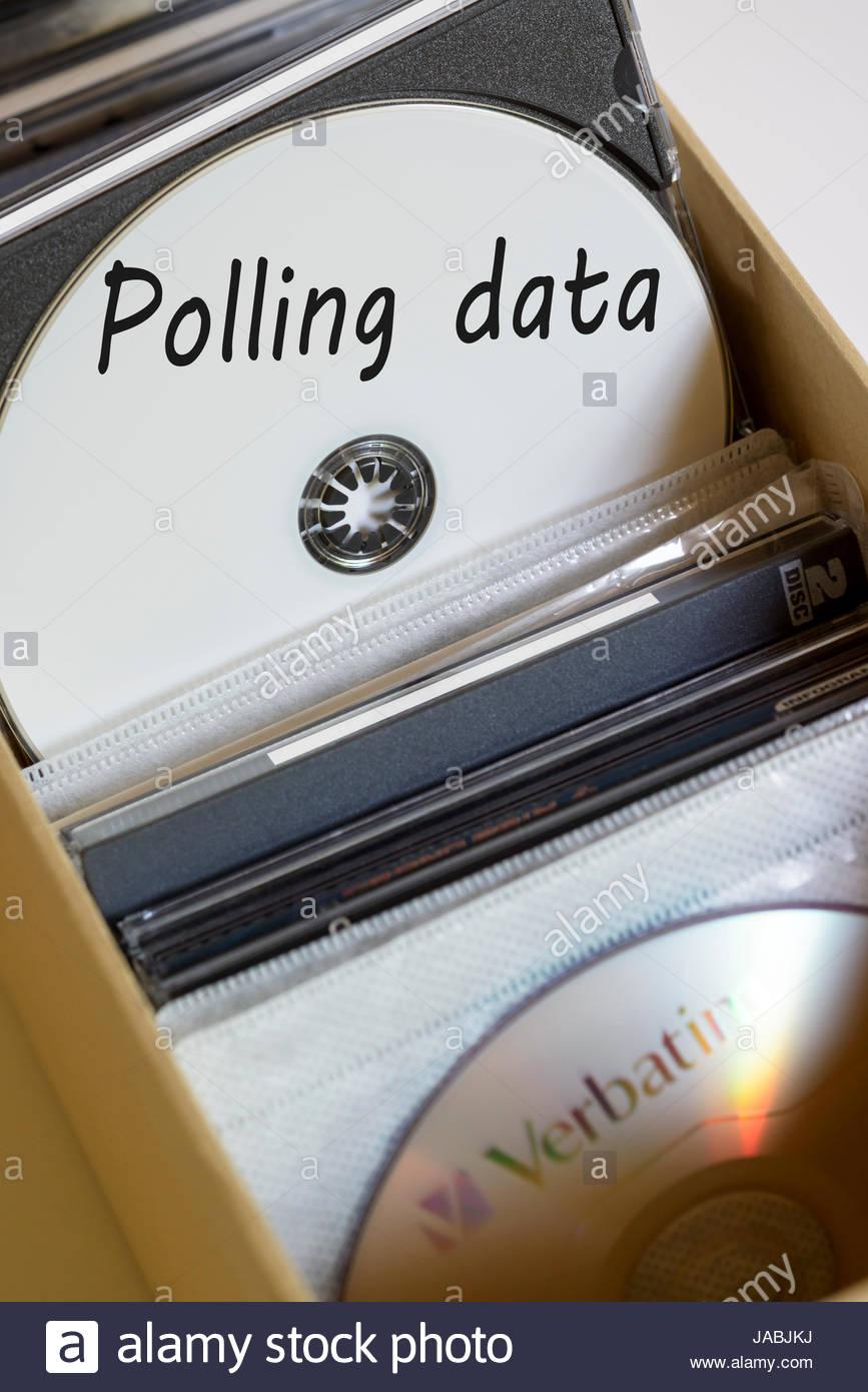Polling data, box of computer discs, England, UK - Stock Image