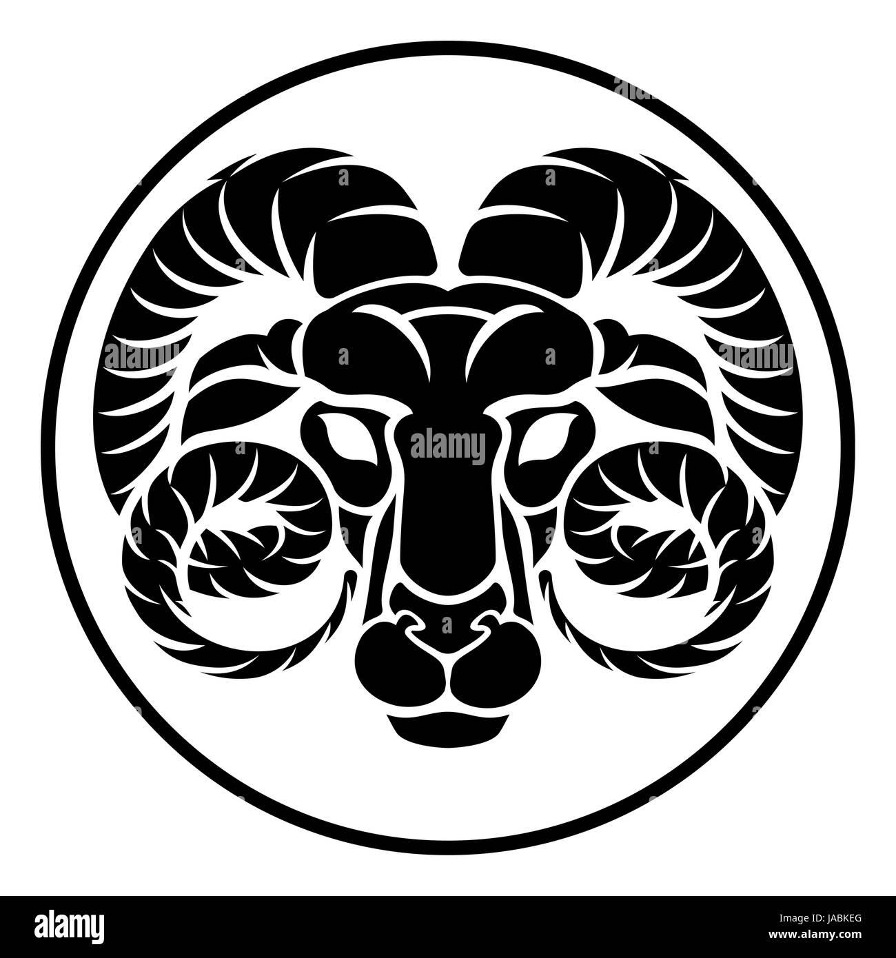 ae6b2b117 A circular Aries ram horoscope astrology zodiac sign icon Stock ...
