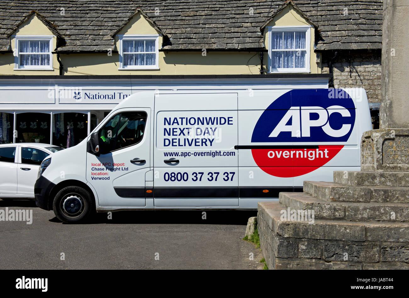 APC courier van in the village of Corfe Castle, Dorset, England UK - Stock Image