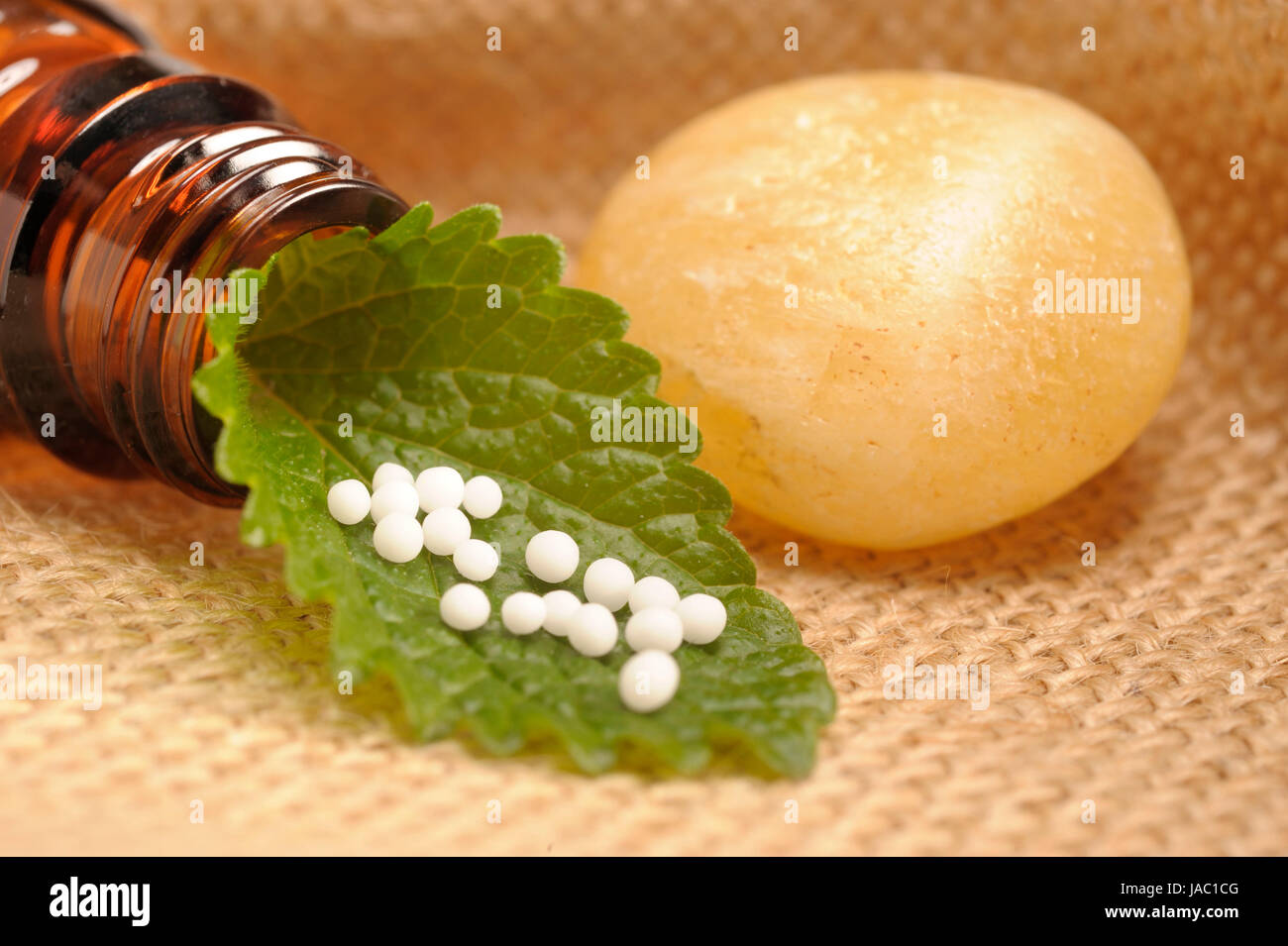 homeopathic globules as therapy for alternative medicine - Stock Image