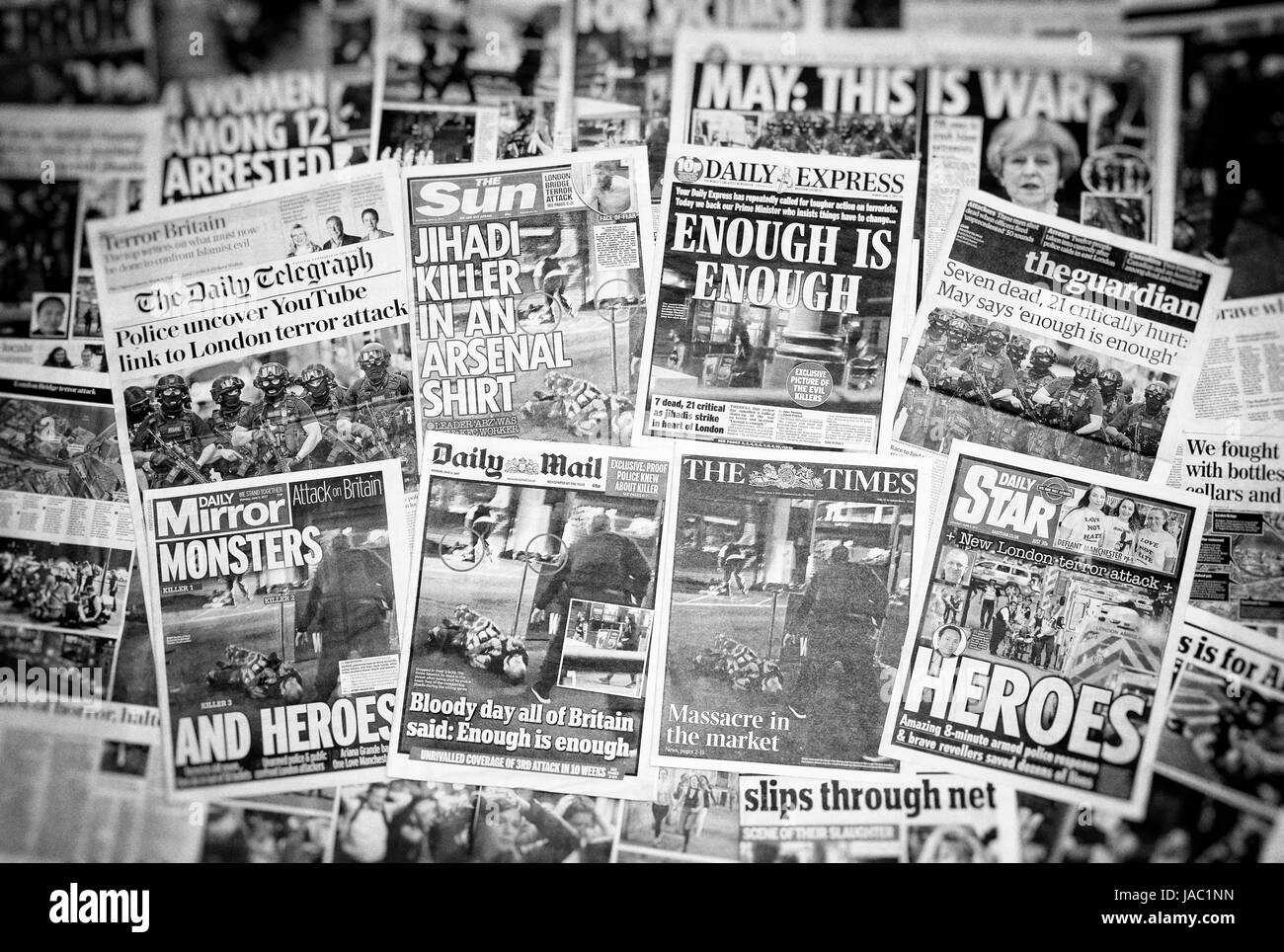 British newspaper front pages reporting on the Terrorist attack on London Bridge and Borough Market in which 7 people - Stock Image