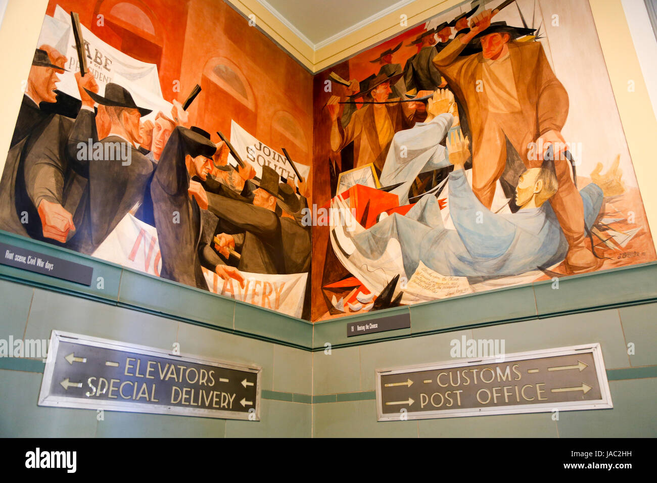 Wall paintings at the Rincon Annex Post Office in Spear Street tell about the history of the city. San Francisco, - Stock Image