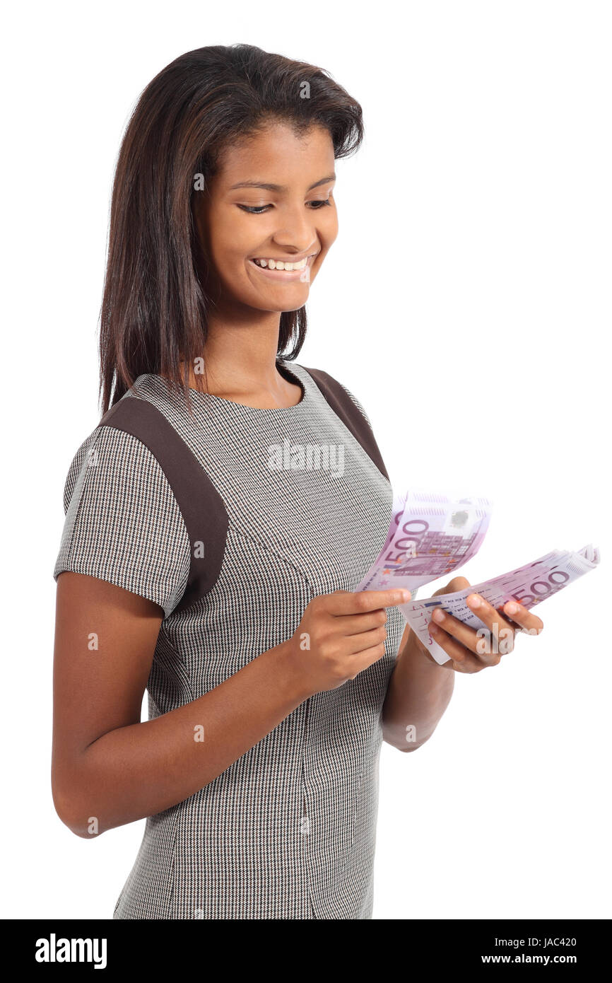 Beautiful african american businesswoman counting money isolated on a white background Stock Photo