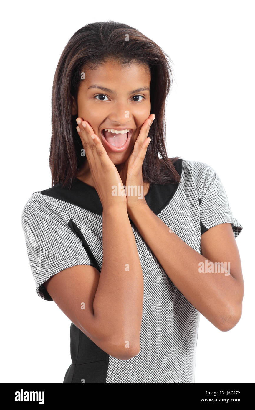 Pretty african american woman holding cheeks surprised isolated on a white background Stock Photo