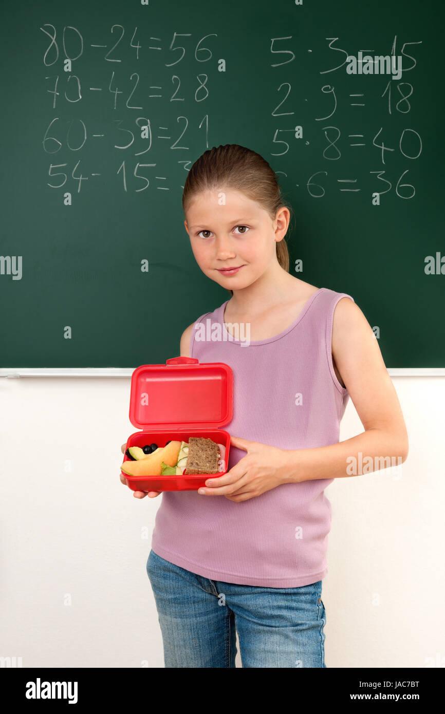 Brotzeitbox, Brotbüchse, Happen, Imbiss, pause, Schülerin, Esspausen, Mädchen, Schule, belegt, belegte, Brote, Brot, Stock Photo