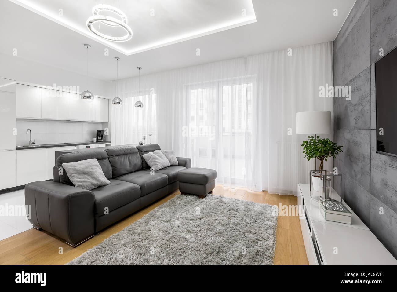 Open gray and white living room with leather sofa, tv and modern lamp Stock Photo