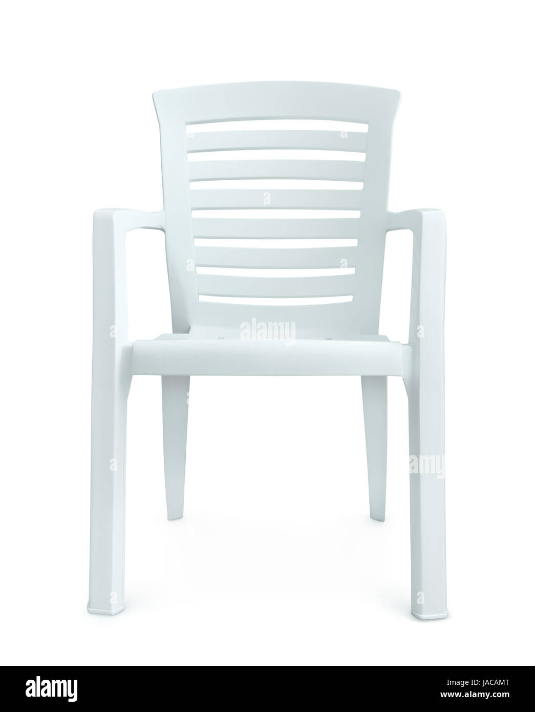 Front View Of White Plastic Chair Isolated On White Stock