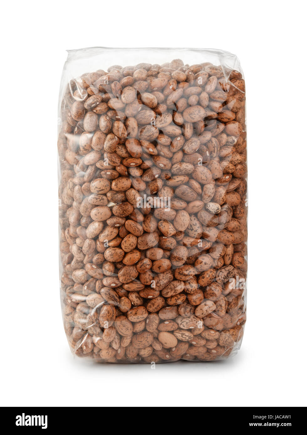 Packet of dry pinto beans isolated on white - Stock Image