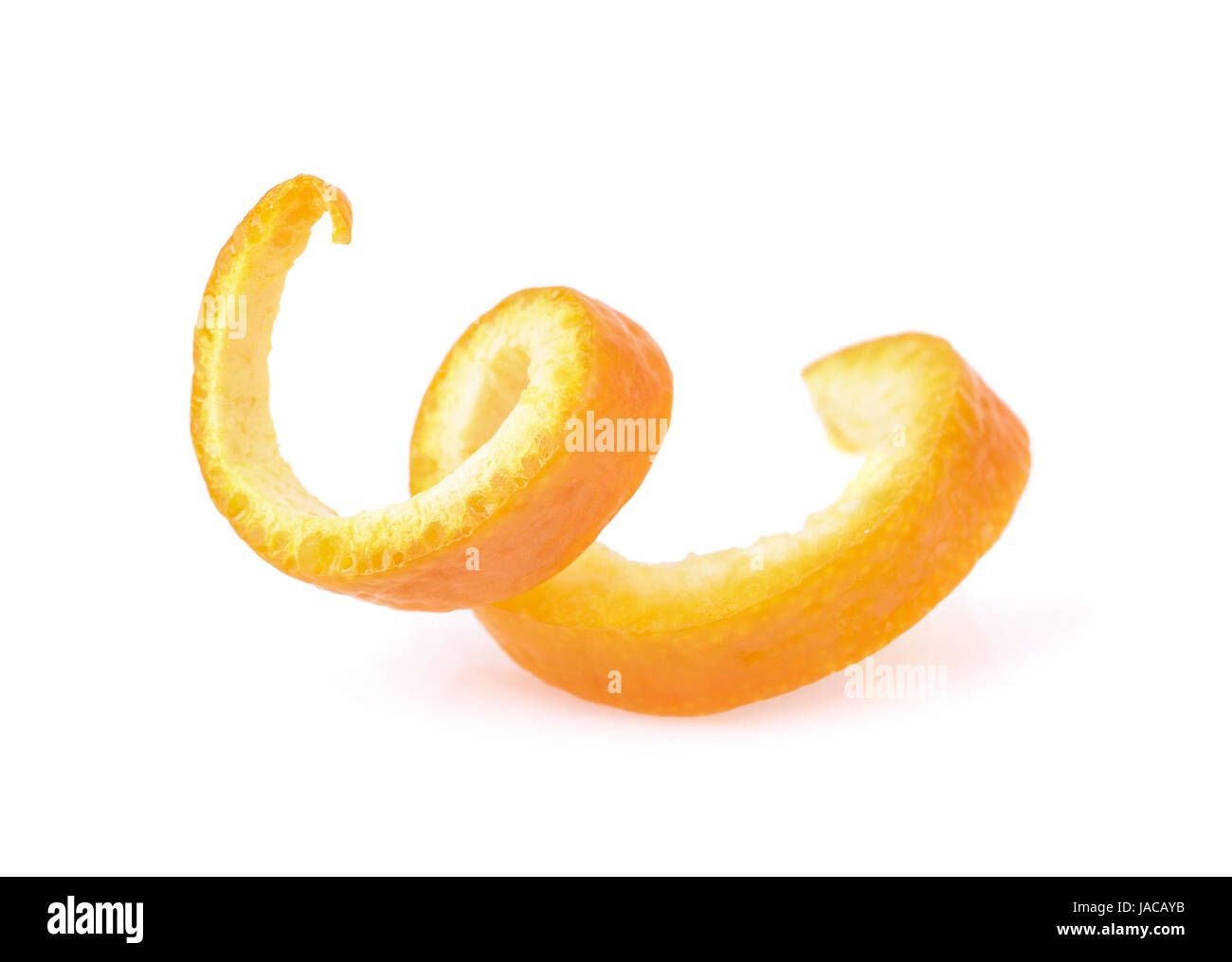 Orange zest spiral isolated on white - Stock Image