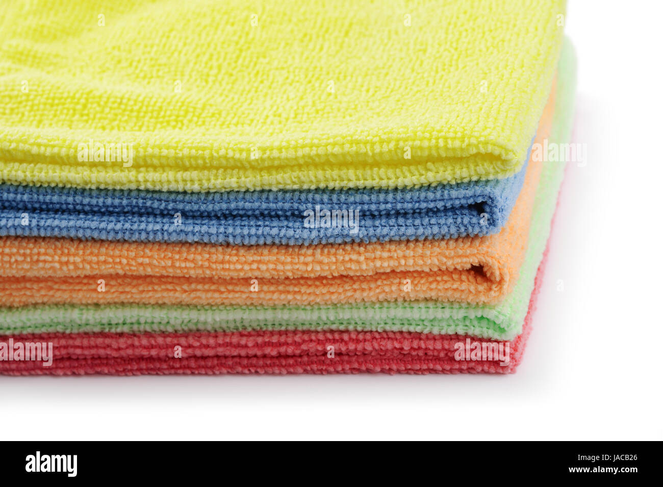 Close up of stacked colorful microfiber cloths - Stock Image