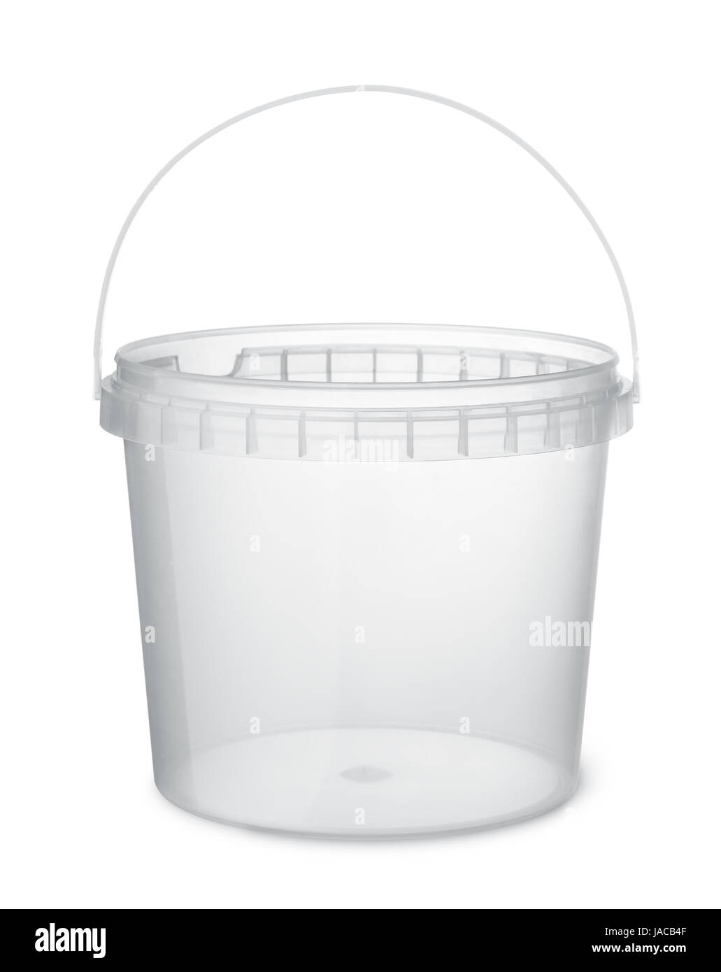 Clear plastic food bucket isolated on white - Stock Image