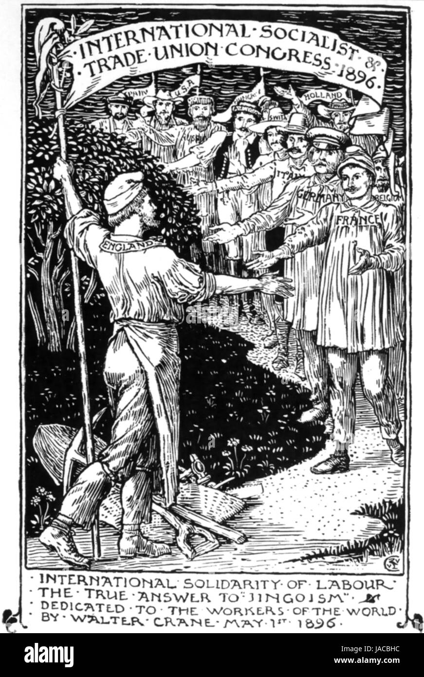 WALTER CRANE (1845-1915) English artist. Engraving from his 'Cartons for the Cause 1886-1896' published - Stock Image