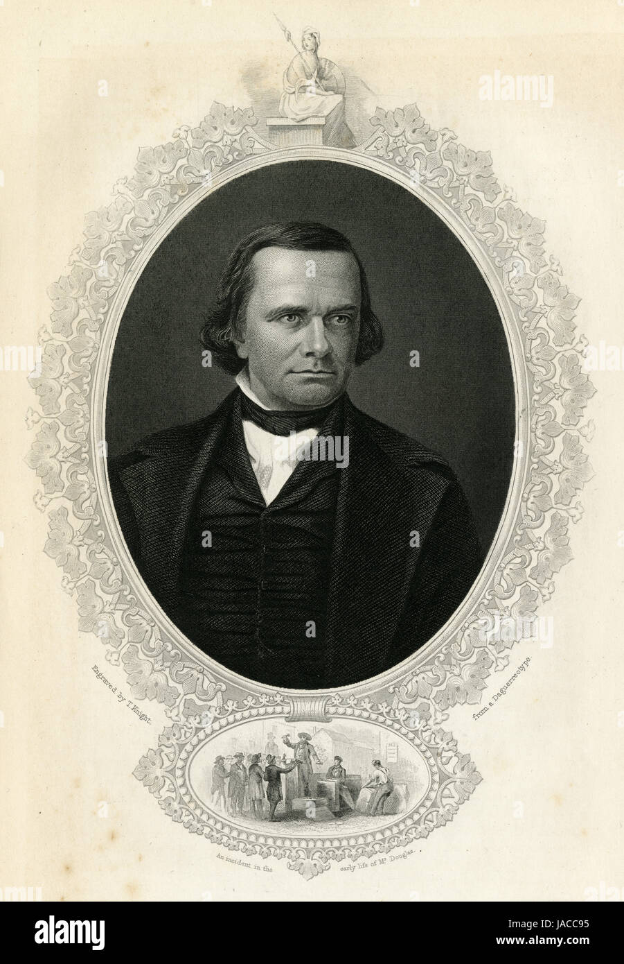 Antique c1860 engraving, Stephen Douglas. Stephen Arnold Douglas (1813-1861) was an American politician from Illinois - Stock Image
