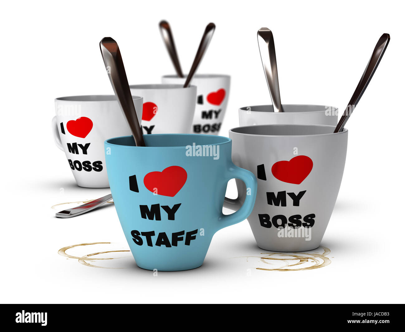 Many mugs where it is written I love my staff and my boss, symbol of staff relations and motivation in workplace. - Stock Image