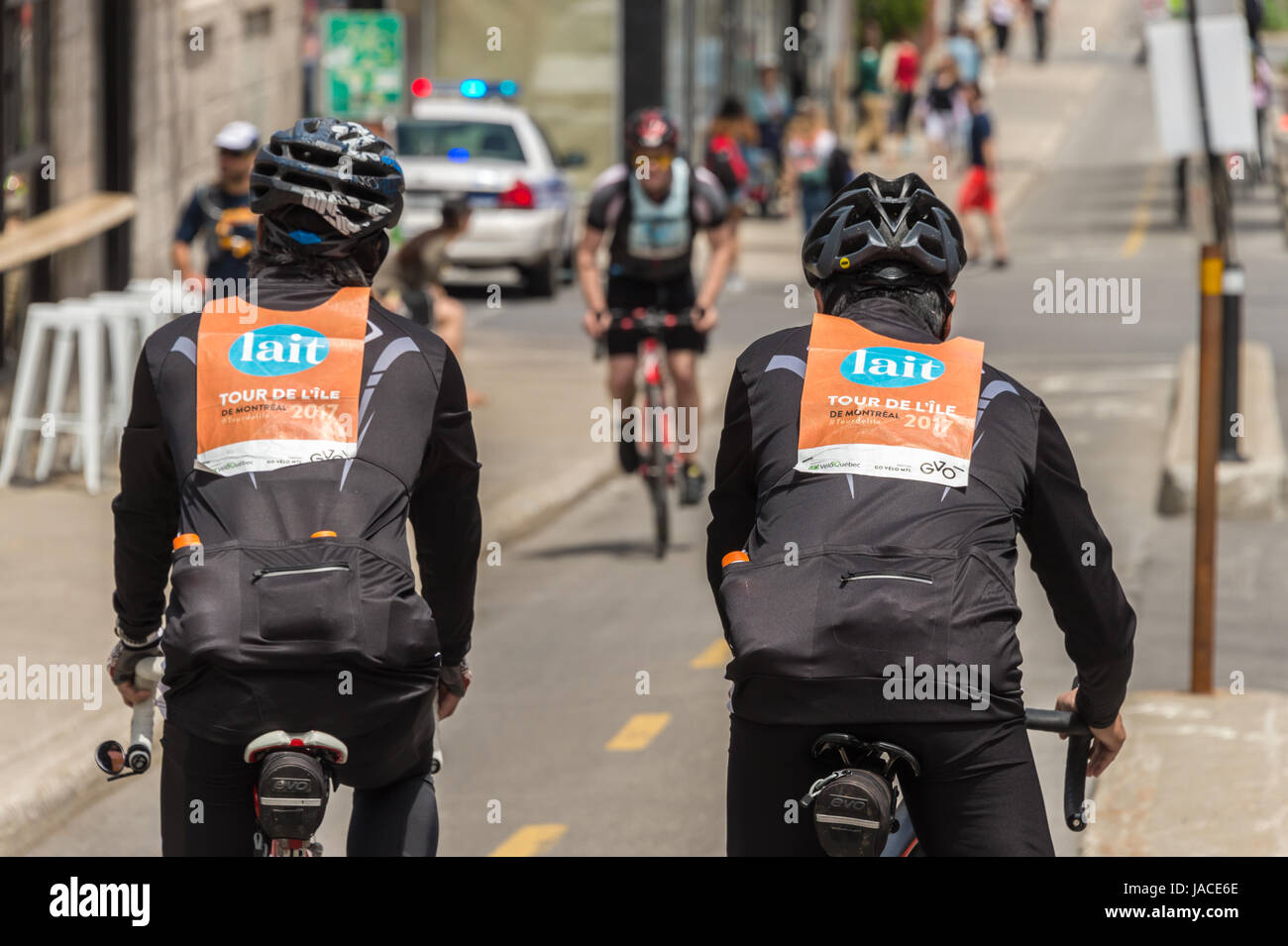 Montreal, Canada - 4 June 2017: Many cyclists take part in Montreal 'Tour de L'île' 2017 - Stock Image