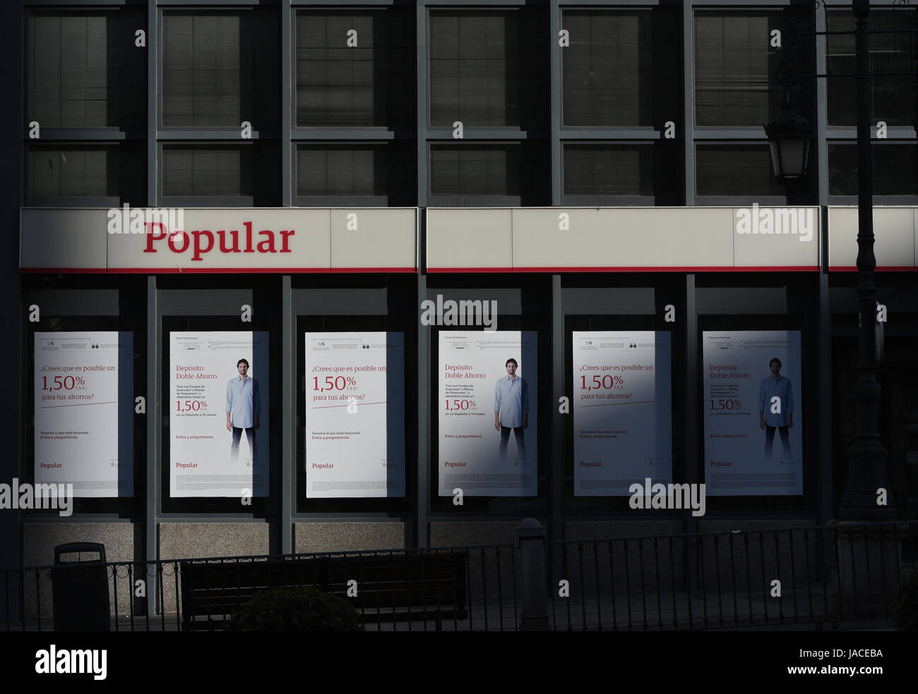 Madrid, Spain. 05th June, 2017. A branch of Popular Bank in Madrid. Shares in Banco Popular Español SA POP - Stock Image