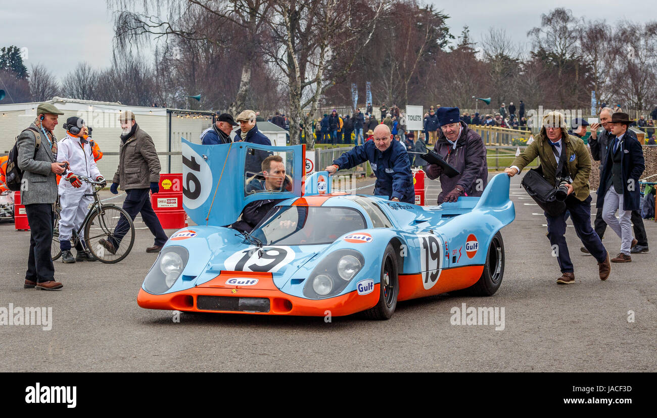 1971 Porsche 917K Group 5 car, driver Richard Attwood, at the Goodwood GRRC 74th Members Meeting, Sussex, UK. - Stock Image