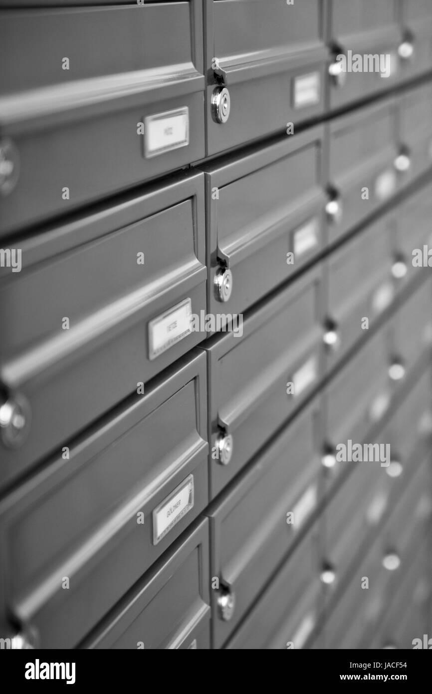 metallic mailboxes. Stock Photo