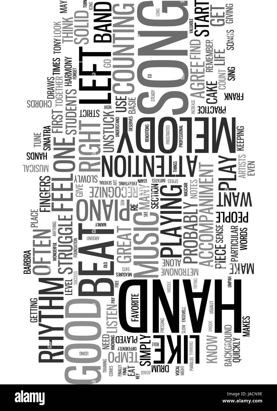 WHAT MAKES A PIECE OF MUSIC A GOOD SONG TEXT WORD CLOUD CONCEPT - Stock Image