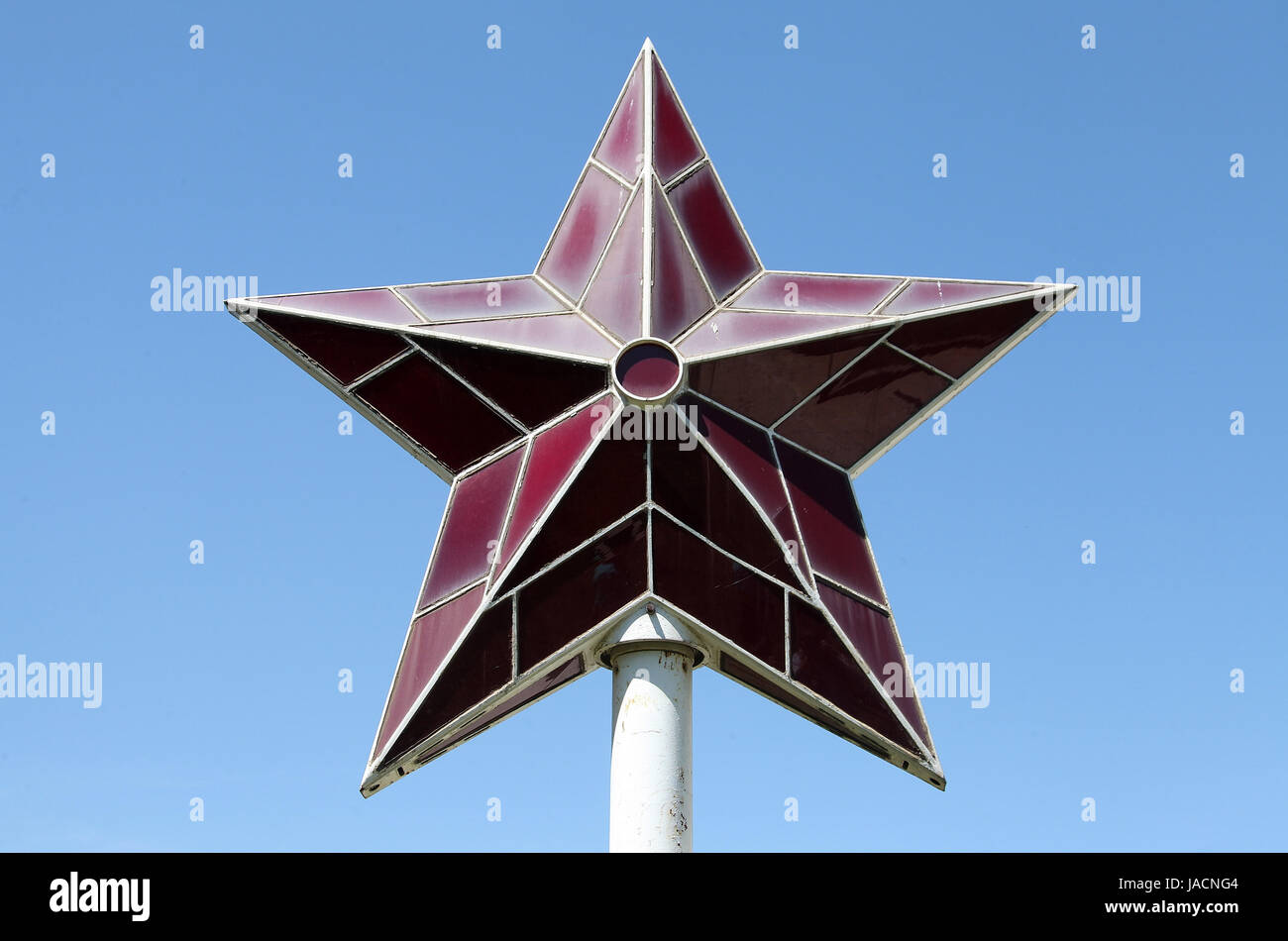 Red Star originally from the Party House and now at the Museum of Socialist Art in Sofia - Stock Image