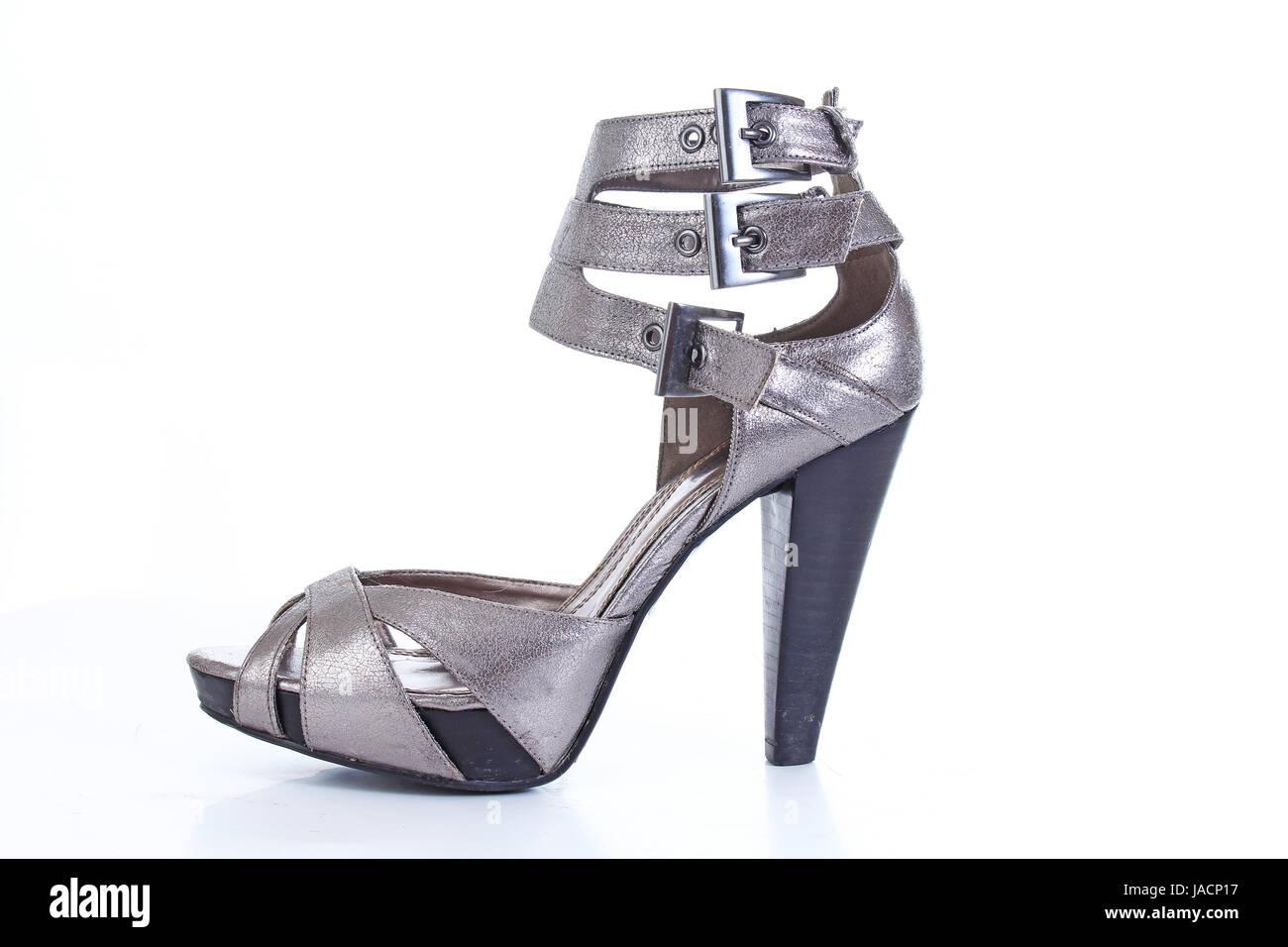 Silver sandal high heel shoe. Grey high heels. - Stock Image