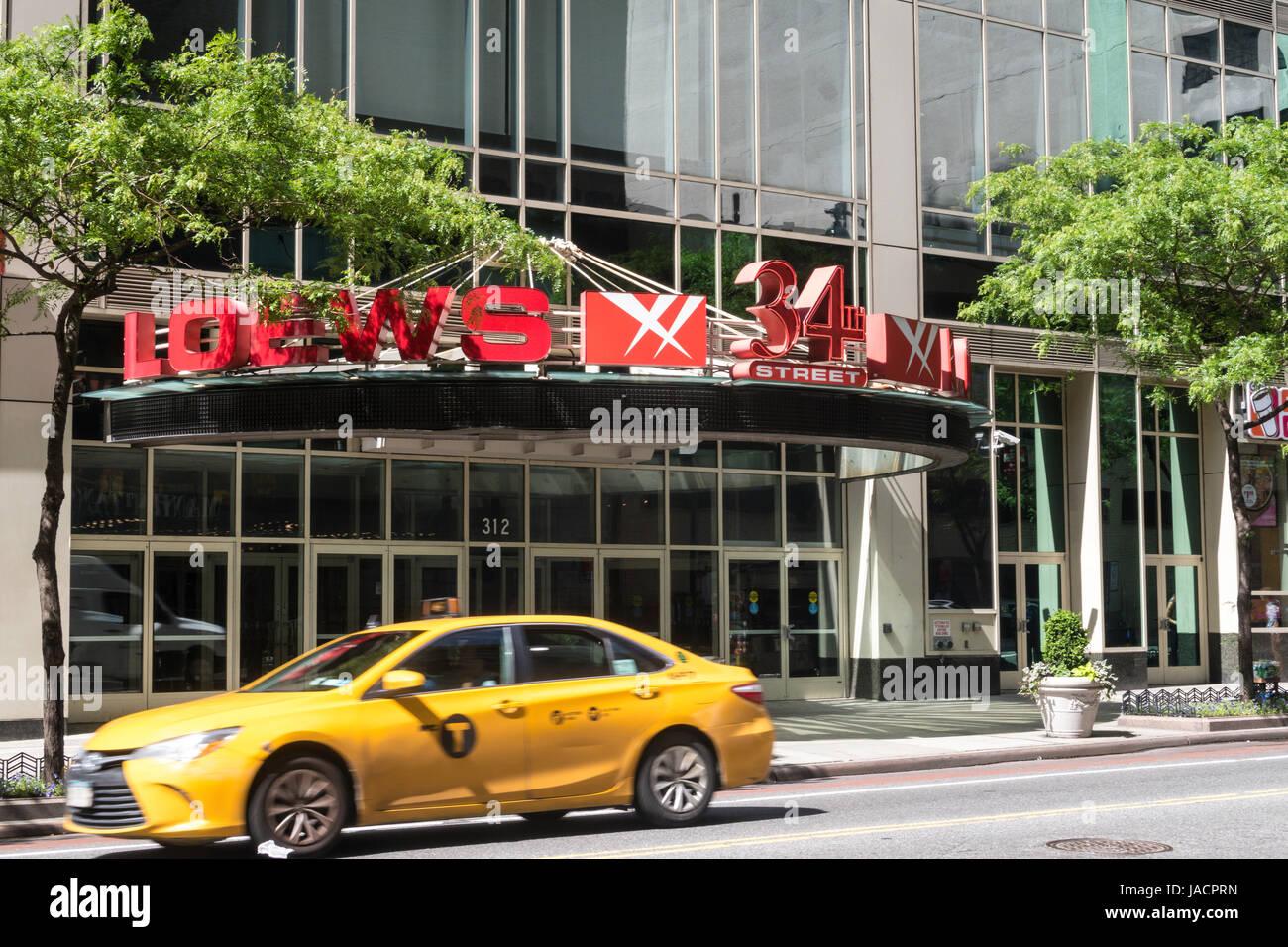 Loews Movie Theater on West 34th Street, NYC, USA - Stock Image