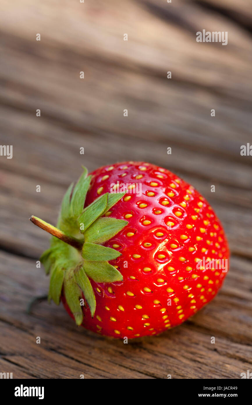 Eine ganze einzelne reife Erdbeere in einer Nahaufnahme auf einem Holzuntergrund mit Textfreiraum im oberen Bildteil - Stock Image