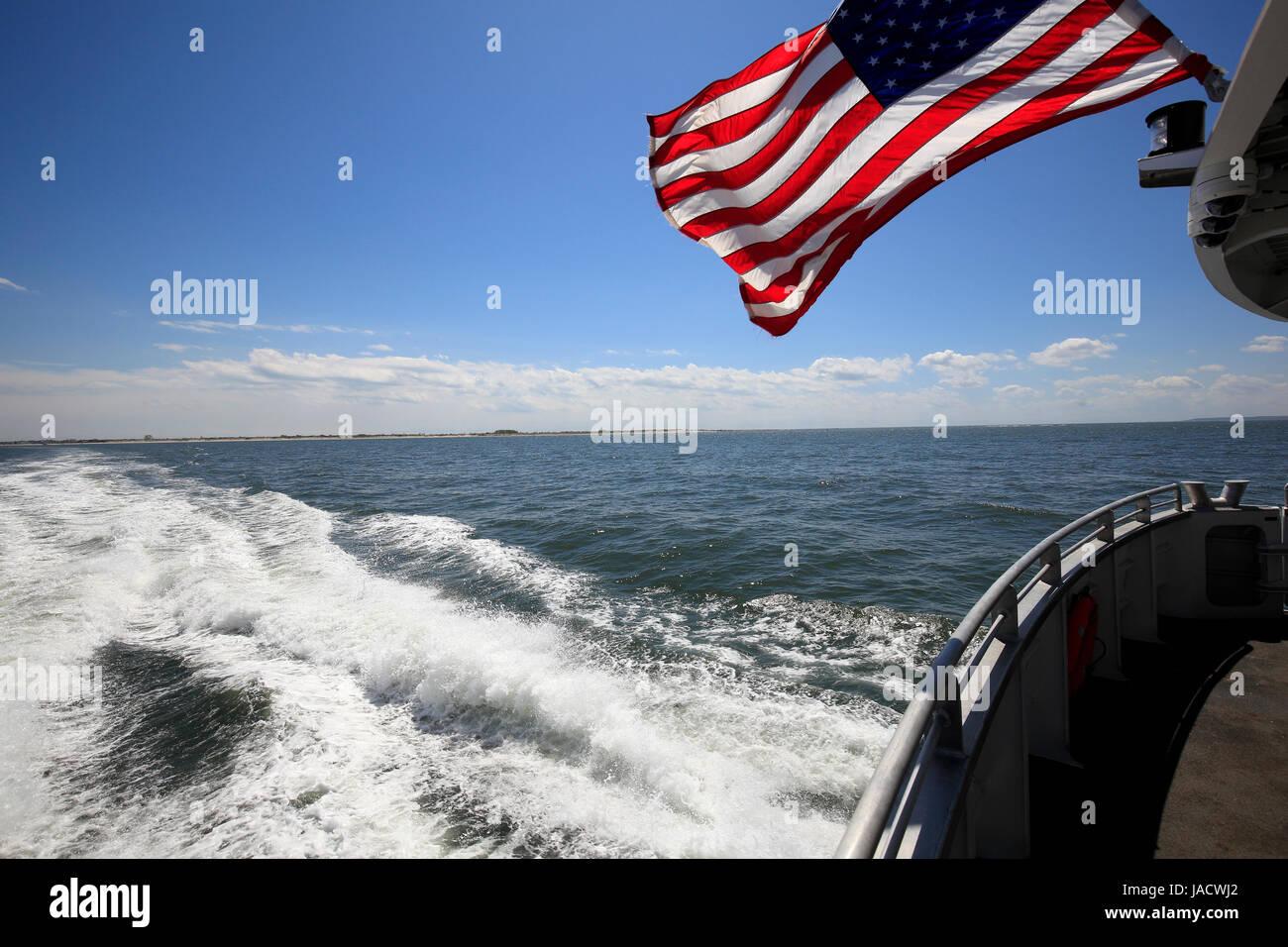 NYC ferry cruising Stock Photo