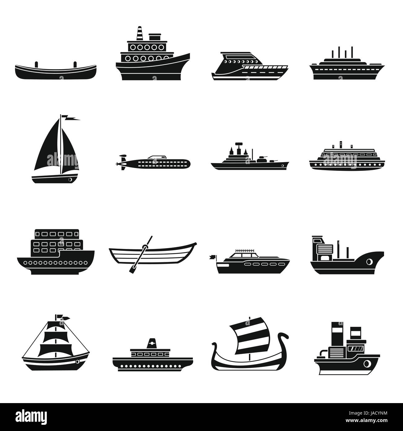 Sea transport icons set. Simple illustration of 16 sea transport vector icons for web - Stock Image