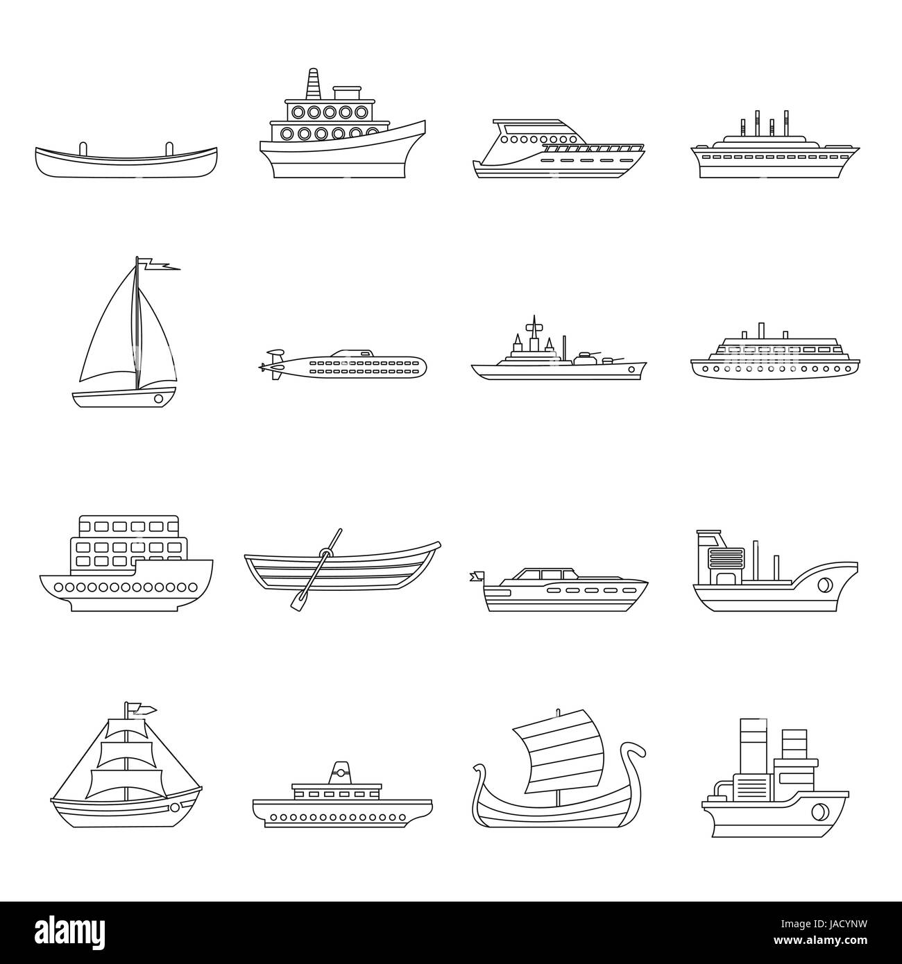 Sea transport icons set. Outline illustration of 16 sea transport vector icons for web - Stock Image