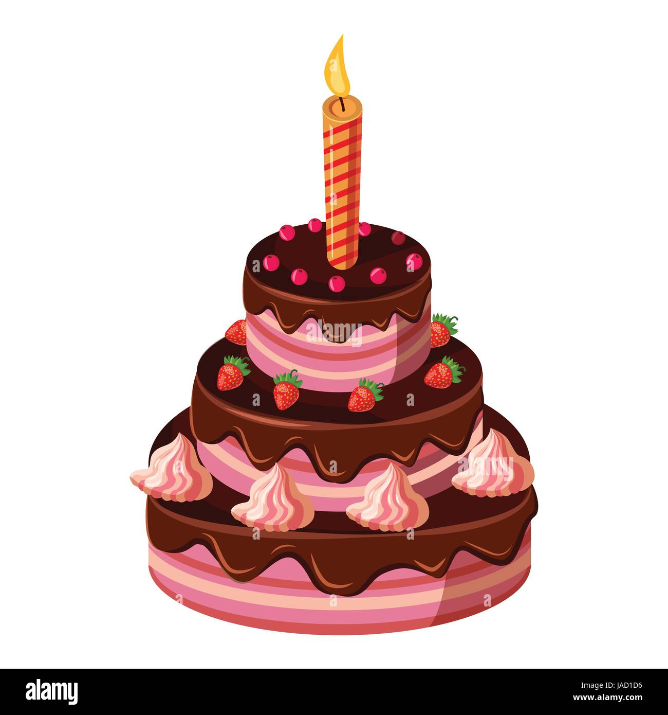 Birthday cake with candle icon Isometric 3d illustration of