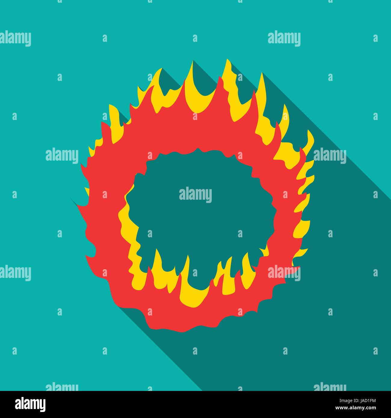Ring Of Fire Icon. Flat Illustration Of Ring Of Fire Vector Icon For Web  Isolated On Turquoise Background