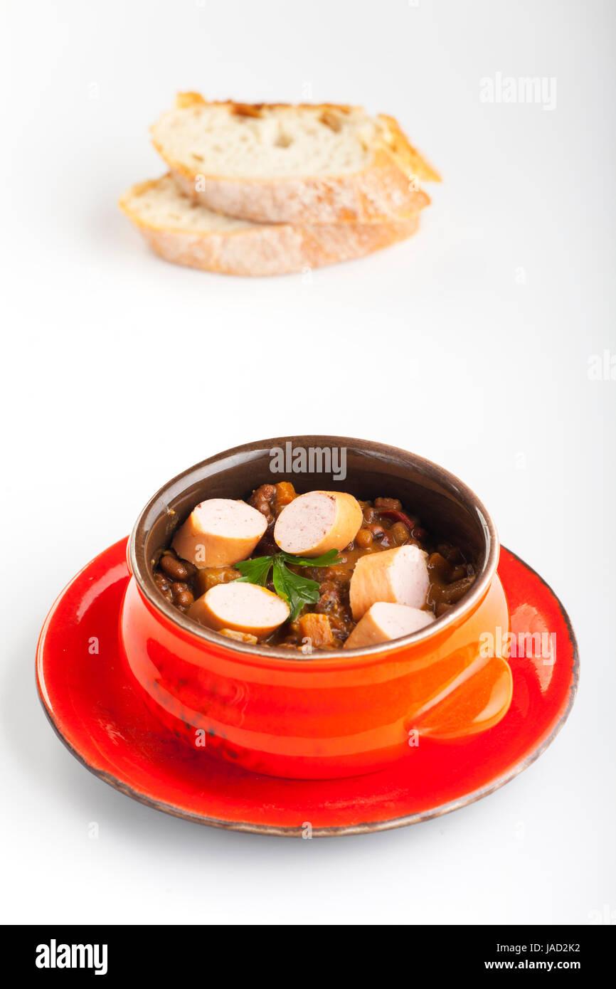Linsensuppe mit Wiener Stock Photo