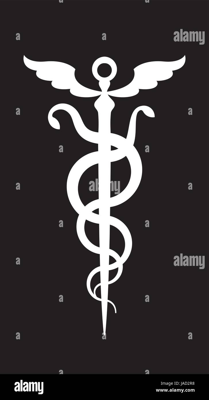 CADUCEUS. Mercury's wand / Apollo Staff. The Symbol of Transformation, Metamorphoses, Synthesis and The Emblem - Stock Image