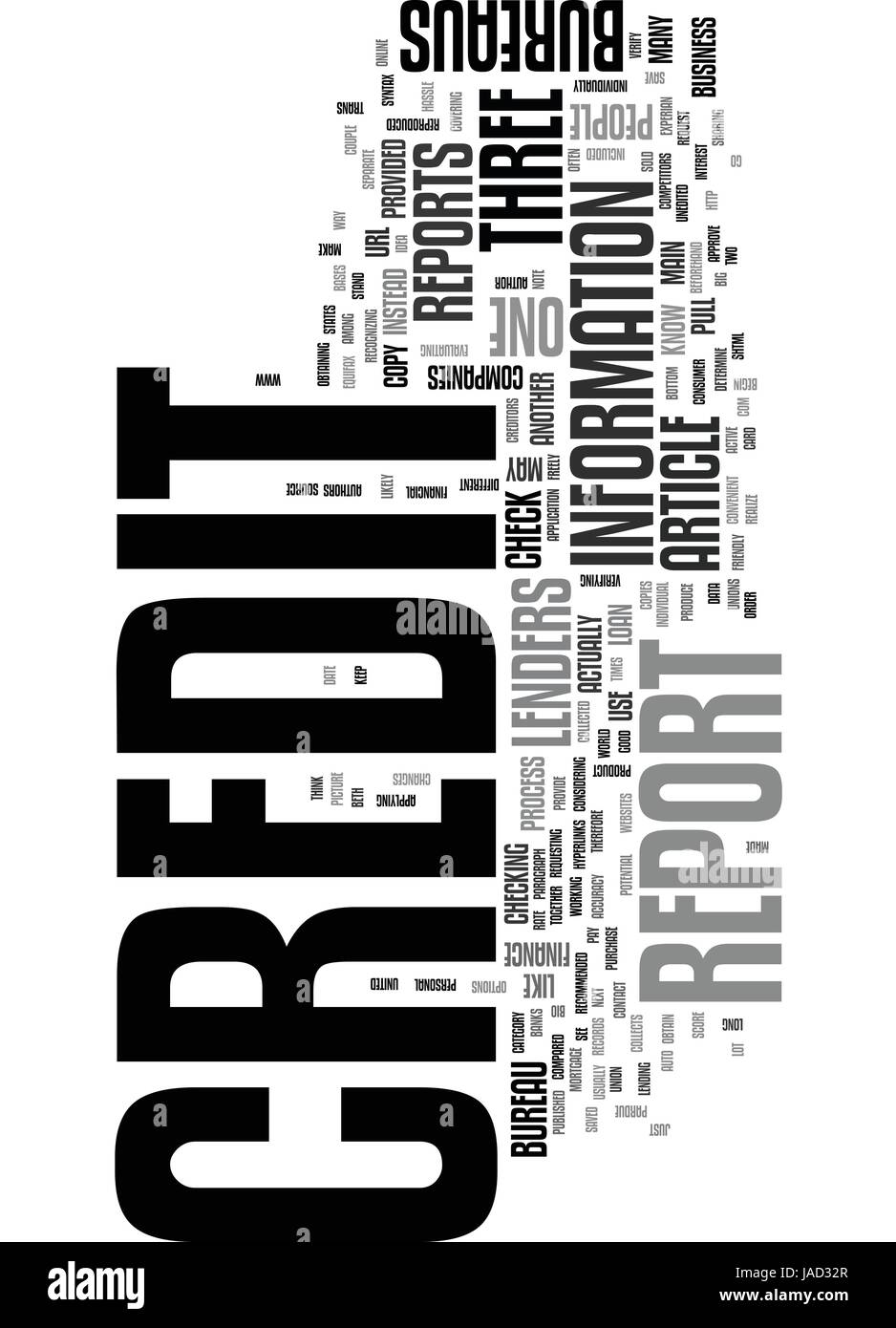WHICH CREDIT BUREAU SHOULD I USE TO CHECK MY CREDIT REPORT TEXT WORD CLOUD CONCEPT - Stock Vector