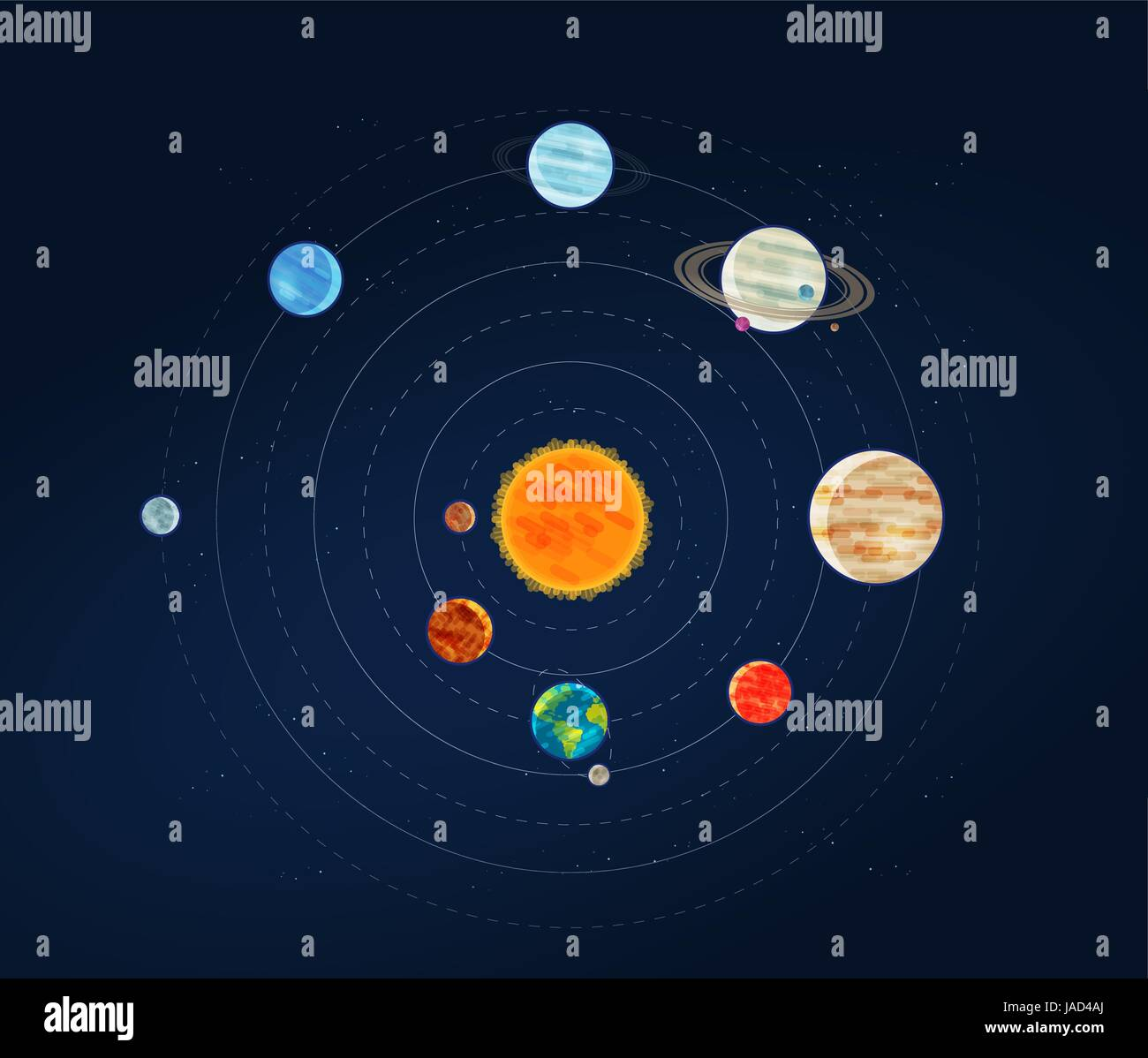 Solar system galaxy infographic space astronomy planets and stars stock vector art - Galaxy and planets ...