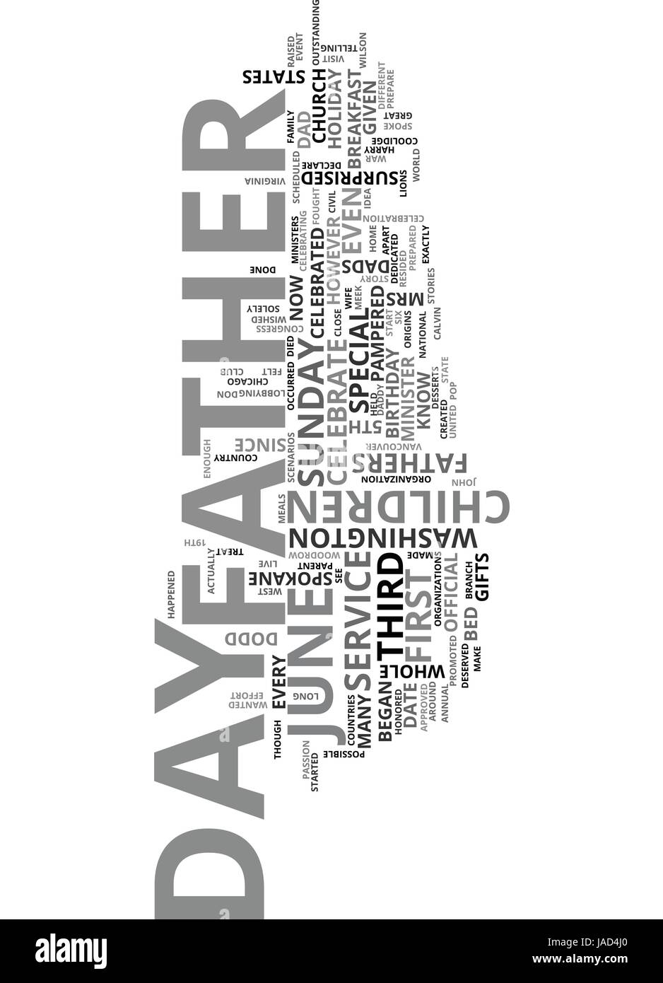 WHY DID WE START TO CELEBRATE FATHER S DAY TEXT WORD CLOUD CONCEPT Stock Vector