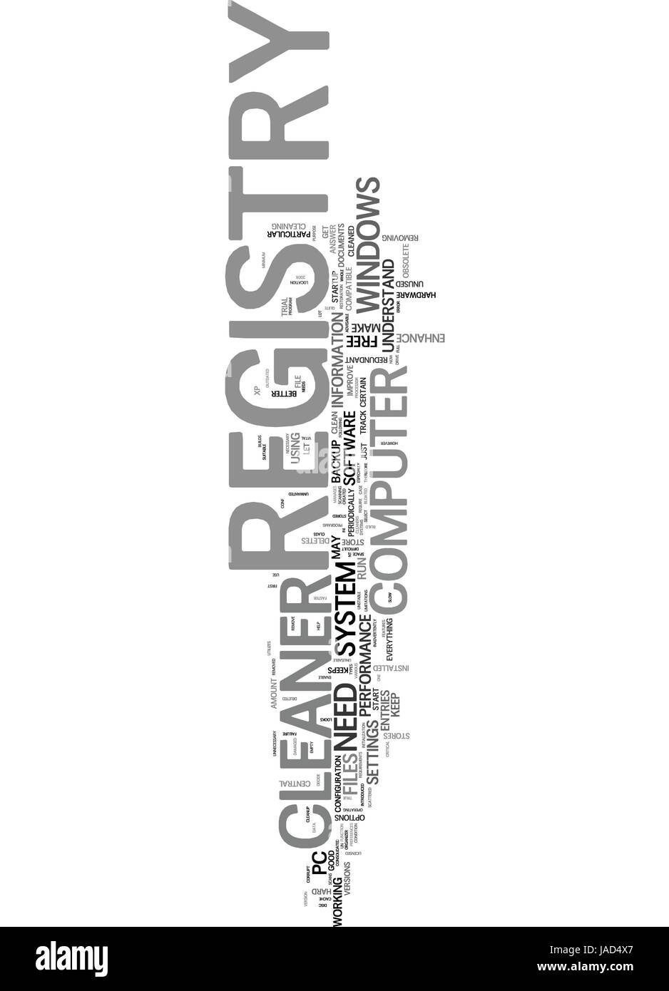 WHY DO YOU NEED A REGISTRY CLEANER TEXT WORD CLOUD CONCEPT - Stock Image